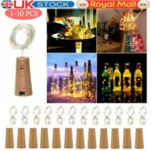 10PCS Bottle TOP String Lights 10 LED Warm White Fairy Wine Cork Shaped Stopper