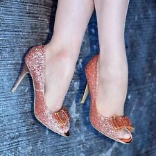 Ladies Glitter Peep toe Shoe Sparkly High Heels Bow Evening Shoes Party Wedding