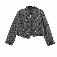 Worthington Blazer Tweed Faux Pearl Buttons Jacket Black White Women's Size L