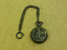 ^ Zitura Pocket Watch 17 Jewels Incabloc, Hunter Scene, Wind Up Swiss Made w Fob