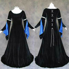 Black Velvet Blue Satin Renaissance Medieval Gown Dress Costume LOTR Wedding S