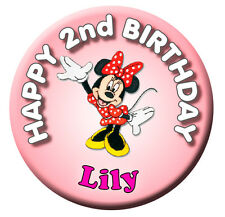 MINNIE MOUSE PERSONALISED BIRTHDAY BADGE - 58mm