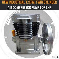 NEW INDUSTRIAL 12CFM, TWIN CYLINDER AIR COMPRESSOR PUMP SUITABLE FOR 3HP
