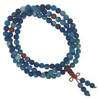 Blue Glass 108 stretch Japa Mala Bead Hand Made Bracelet Yoga Mantra Meditation