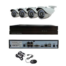 HJT 4CH POE Camera System HD 1080P Outdoor Security Network NVR P2P CCTV IR-CUT