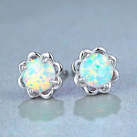 925 Silver Filled White Fire Opal Women Gemstone Stud Earrings Jewelry Gift