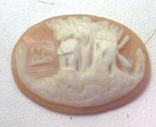 NOS Antique  Hand Carved Oval Shell CAMEO Stone Windmill House Tree Scene #N401