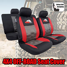 4x4 OFF-ROAD Airflow Spacer Mesh Red Gray Sports Seat Covers Set For Toyota
