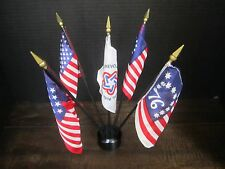 Bicentennial Flag Set of 5 with stand Historic Flags patriotic July 4th holidays