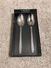 Ralph Lauren Salad Servers Spoon Equestrian Braid Serving Silverware NIB Set 2
