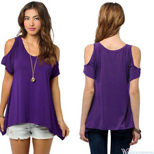 Womens Summer Cold Shoulder Tee Top Short Sleeve Blouse Casual T-Shirt Plus Size