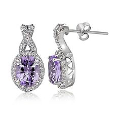 Sterling Silver 3ct Amethyst & White Topaz X and Oval Drop Earrings
