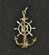 14k Yellow Gold Anchor And Rope Pendant - Gently Used - J-101A