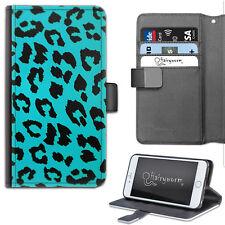 Blue Leopard Print Deluxe PU Leather Wallet Phone Case, Flip Phone Case