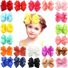 "20 Pcs Boutique Girls Kids Children 4""Grosgrain Ribbon Hair Bows Alligator Clips"