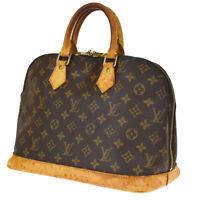 Authentic LOUIS VUITTON LV Alma Hand Bag Monogram Leather Brown M51130 33JC404