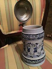 """Vintage German Cobalt Blue Grey Musikanten Ceramic Beer Stein Pewter Lid - 7"""""""