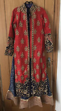 Bridal Indian, Pakistani Lengha Dress, Royal Red and Blue, Size 8 Gold Emb