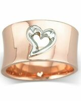Fashion Love Heart Two Tone Wedding Ring Rose Gold Engagement Jewelry Size 6-10