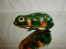 TIN TOY BLECH WINDUP CHINA MS 082 - JUMPING FROG - GREEN L8.0cm - GOOD CONDITION