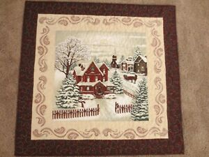 """Hand Made Quilted Wall Hanging ~Winter Scene~ 27 1/2"""" square~ 100% cotton"""