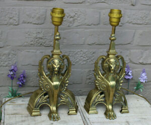 PAIR French bronze Fireplace andirons lamps dragon chimaera mythological