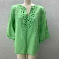 NWT Lino Tunic Top Blouse Women's M Mint Green V-Nek Wide 3/4 Sleeve Linen Rayon