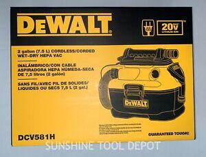 Dewalt DCV581H 20V Max 2 Gallon Cordless/Corded Wet Dry HEPA Vac (Bare Tool)