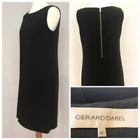 GERARD DAREL Black Shift Dress Exposed Zip Smart Business Size 40 UK 12