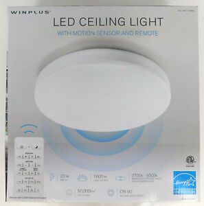 Winplus LM56123 Control & Motion Activated LED Ceiling Light, Remote White - NEW