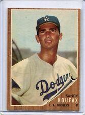 1962 Topps Baseball Card Sandy Koufax Los Angeles Dodgers  Dodgers EX MT  # 5
