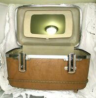 1970's Vintage American Tourister Brown Escort Train Case With Key Mirror Tag