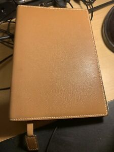 Hermes Courchevel Semanier Leather GM Agenda Organizer Notebook Cover Binder EUC