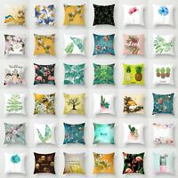Polyester Flower & Plants Pillow Case Sofa Car Throw Cushion Cover Home Decor
