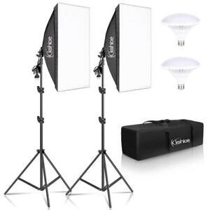 2 x Profi Fotostudio Softbox Set 50 x 70cm Dauerlicht Studioleuchte Tragetasche