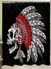 Skull with Feathers 3D Shower Curtain Bathroom Decor Black