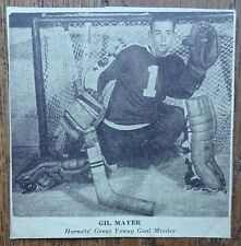 ca. 1950 Pittsburgh Hornets newspaper clipping GIL MAYER great young goal minder