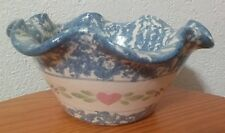 """PAUL STORIE POTTERY 7"""" L1 BLUE SPONGE WARE PINK HEARTS MARSHALL EAST TEXAS"""