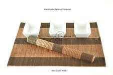 6 Hecho a Mano Madera de Bambú Manteles Individuales Mesa Alfombras Negro-Marrón, P008
