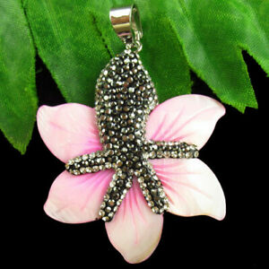42x6mm Wrapped Rhinestone Pink Shell Flower Pendant Bead D66323