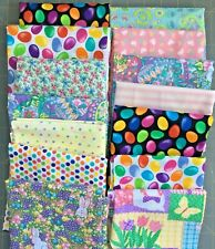 Easter Mixed Lot Cotton Quilting Fabric Bunnies Floral Jelly Beans Polka Dots