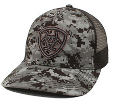 47c0df511b5 Ariat Mens Hat Baseball Cap Mesh Snap Back Shield Logo Camo Black  A3000043156