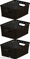 3x Curver Nestable Rattan Basket Small Storage Plastic Wicker Tray 8L - Brown