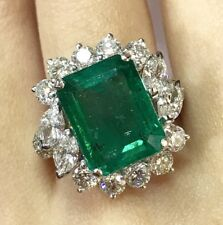 AAA+ FINEST! 10.06TCW Emerald Diamonds 18K solid white gold ring Natural Zambian