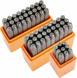 """63 PCS Letter Number Metal Stamp Stamping Punch Set 1/8"""" 3mm for Jewelry Crafts"""