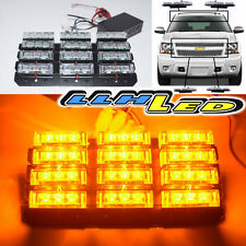 36 Yellow Led Emergency Vehicle Strobe Lights Bar Warning Deck Dash Grille Amber