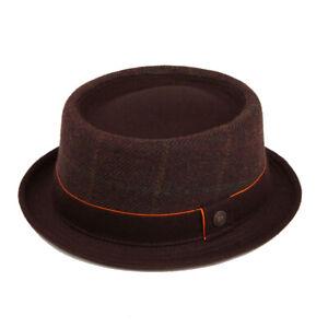 Duncan Woolen Wool  Checks Tweed PorkPie Winter Mens Womens Unisex Retro Hat