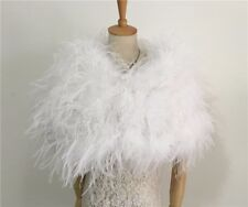 New Women's Real Genuine Ostrich Fur Wedding Bridal Bridesmaid Cape Shawl Wrap