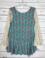 UMGEE USA Boutique Boho Festival Lace Tunic Blouse Shirt Top Women's M Medium