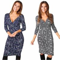 Women Cross Wrap V Neck Casual Midi Dress Ladies Printed Knee Long Tea Dresses